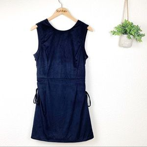 Miss Me Velvet Navy Mini Dress Side Ties